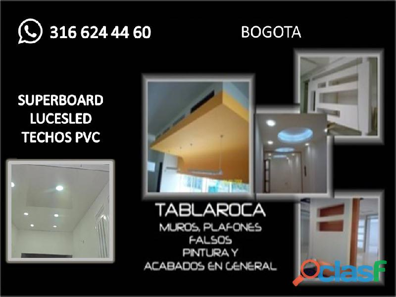 Techo pvc instalamos y drywall luces led wasap 316 624 44 60