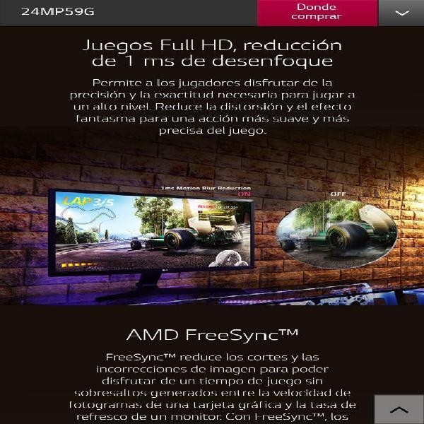 Monitor gamer lg 24mp59g ips nuevo