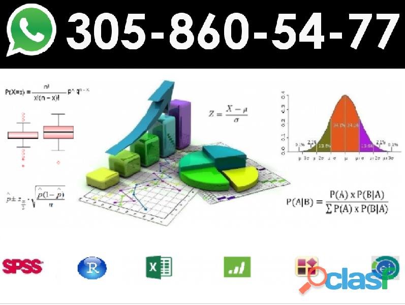 Clases de estadística a domicilio. cel/whatsapp 3058605477