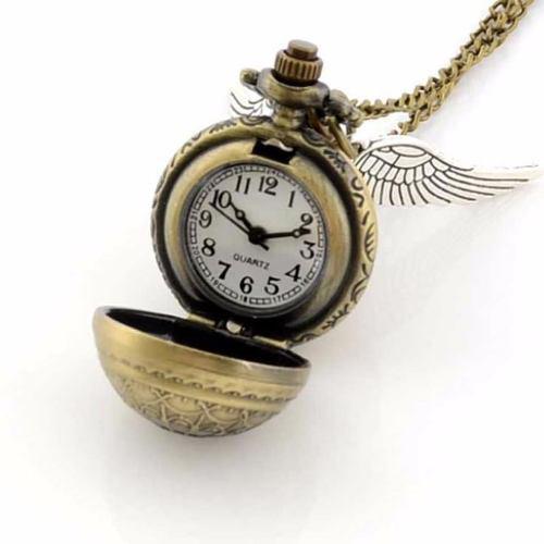 Collar snitch dorada - reloj harry potter bola quidditch