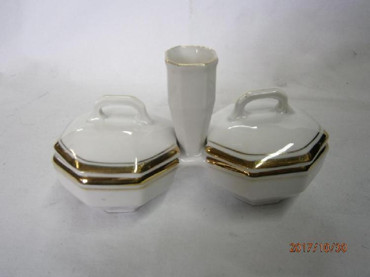 Salero pimentero palillero antiguo porcelana marca epiag de