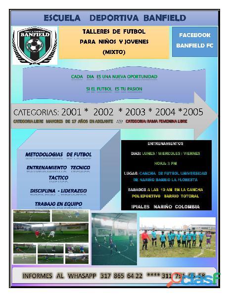 Talleres de fútbol para niños y jóvenes mixto