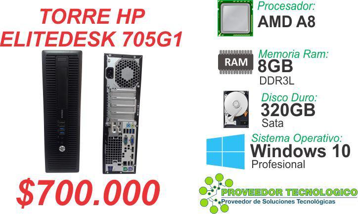 Torre hp elitedesk 705g1 amd a8 ram 8gb ddr3l disco 320gb