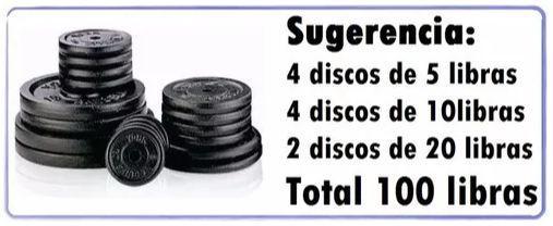 Kit de pesas 122 libras 10 discos barra recta mancuernas