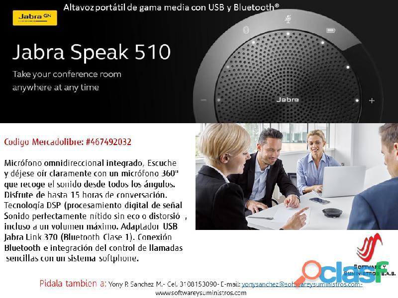 Parlantes jabra speak 510 altavoz portátil usb y bluetooth
