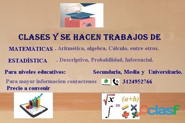 Clases y trabajos en matemática y estadística