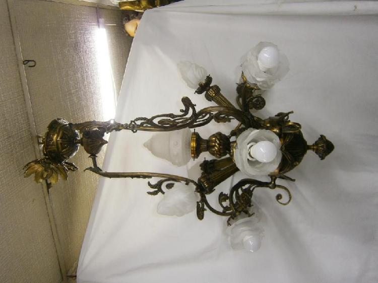 Lampara de techo antorchas 10 luces en bronce antigua