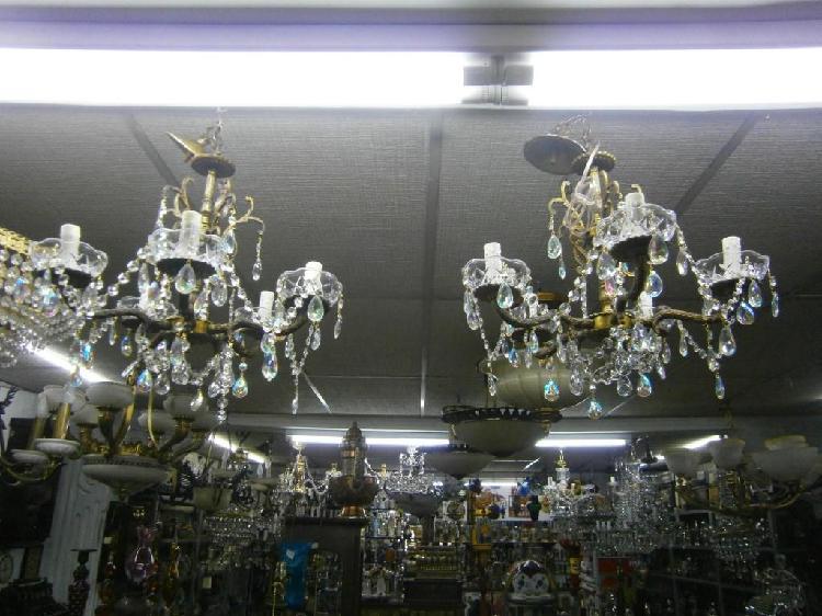 Lamparas techo x 5 luces cristal bronce precio x c/u