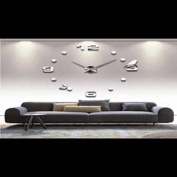 Reloj pared pajaro grande plateado