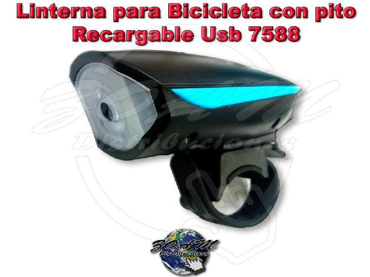 Linterna para Bicicleta con pito Luces Intermitente