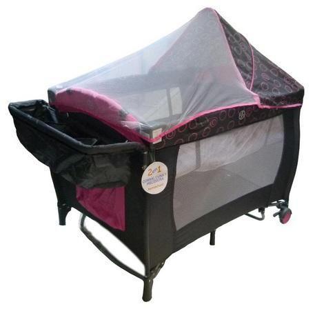 Cuna/corral para bebé priori rosado plegable