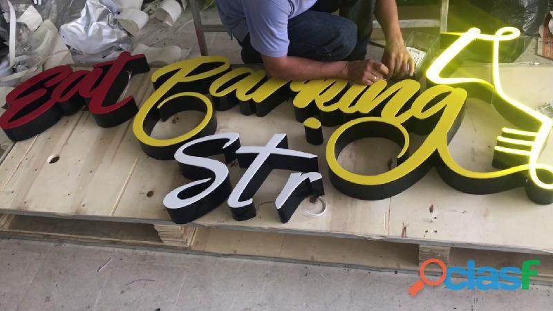 Avisos luminosos, publicidad y letreros, acrílico y diseño
