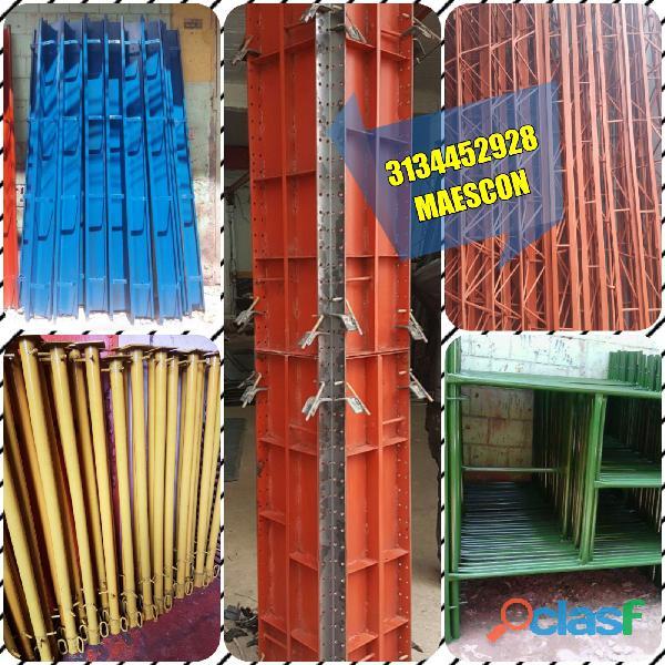 Formaleta metálica, rieles, bordillos para construcción