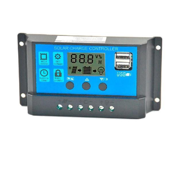Controlador carga solar 60a 12v 24v cargador dual usb
