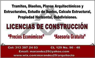 Arquitecto, licencias de construcción, planos. precios