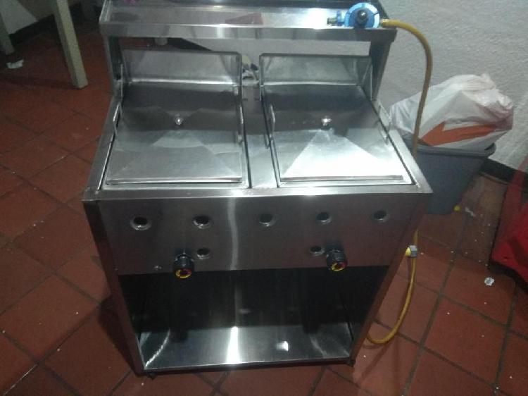 Freidor (fritador doble) en acero con canastillas y cilindro