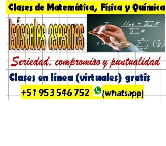 Matemáticas, física y química online gratis +51 953 546