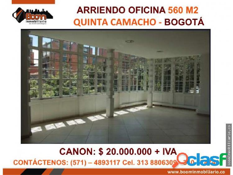 **arriendo casa oficinas 560 m2 quinta camacho