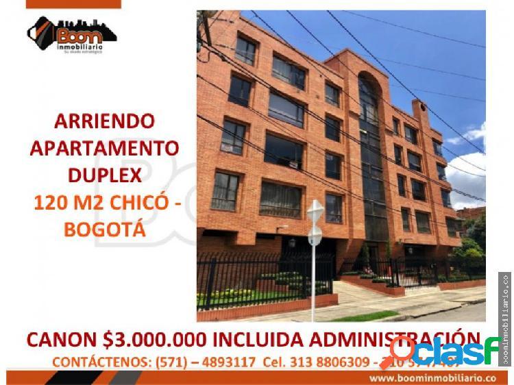 *arriendo apartamento duplex 120 m2 chico