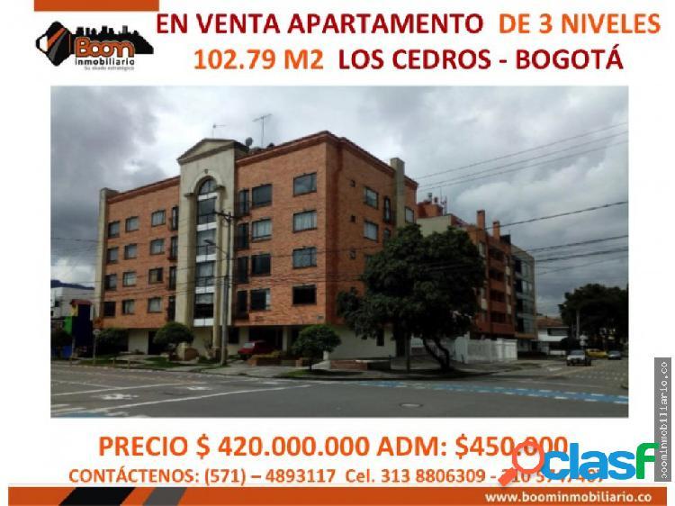 *venta apartamento de 3 niveles 103 m2 cedritos