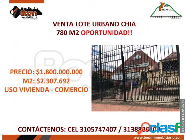 **venta predio urbano chia 780 m2