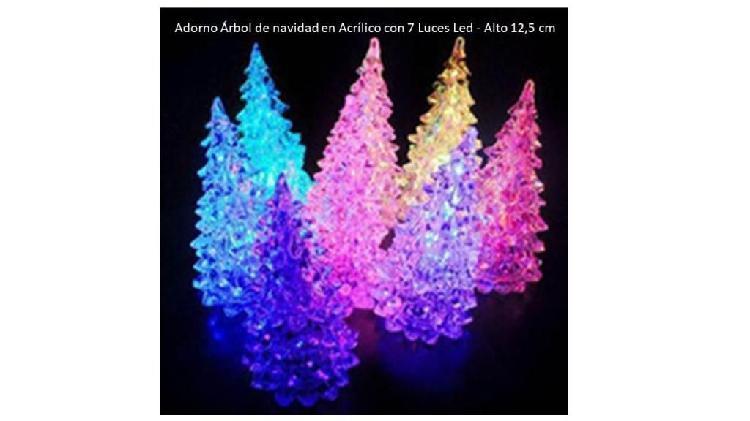 Adorno 7 luces árbol de navidad paq x 6 acrílico led 12 cm