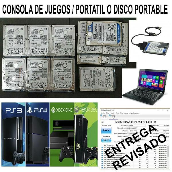 Disco 320gb pc. xbox. one. ps3 y ps4 lee
