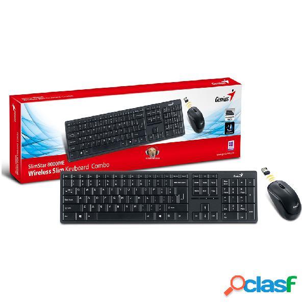 Combo teclado delgado inalambrico y mouse de 2.4ghz para escritorio slim star 8000 me