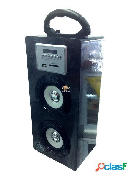 Parlante doble bajo fm mp3 bateria b604