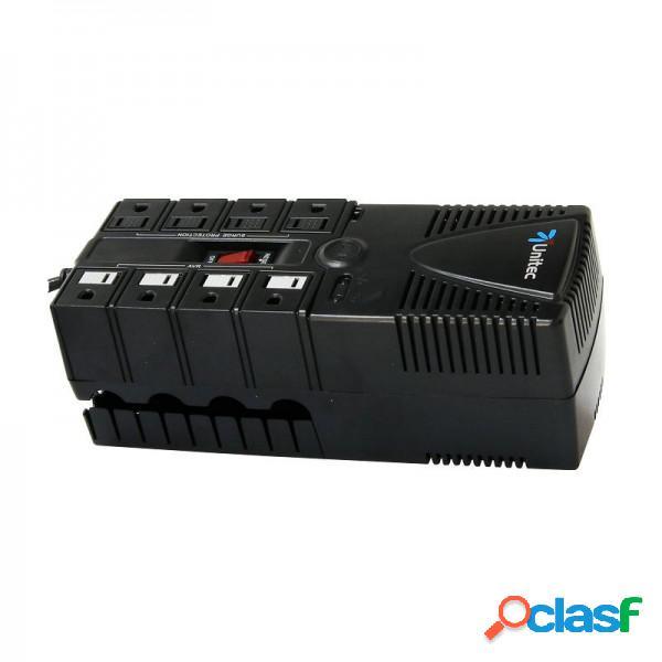 Regulador de voltaje 1200va 8 tomas unitec