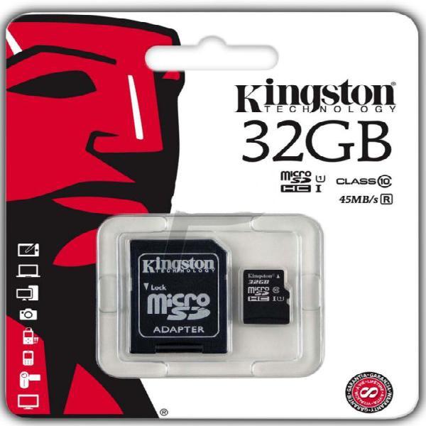 Tarjeta microsd kingston 32gb clase 10 con adaptador sd 80