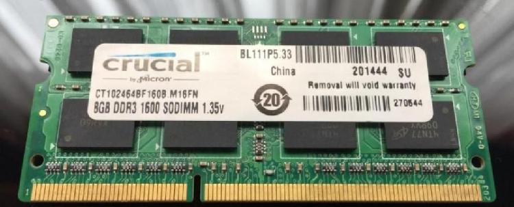 Memoria ddr3 8gb portatil o todo en uno