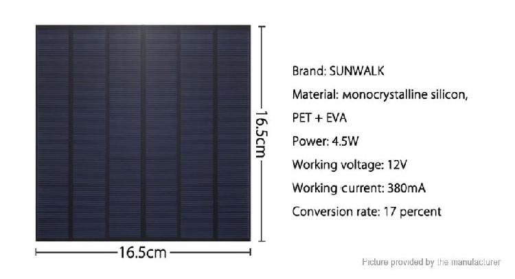 Panel solar 12v, 4.5w, 380mha