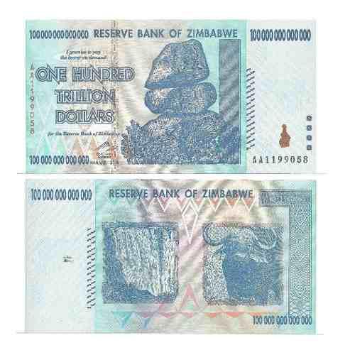 Billete zimbabwe 100 trillones dolares 2008 papel moneda unc