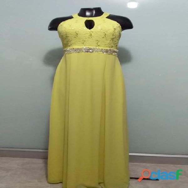 Alquiler de vestido de coctel para mujer amarillo en itagui ref: 0843