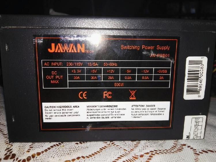 Fuente de poder jawan 600w- buen estado