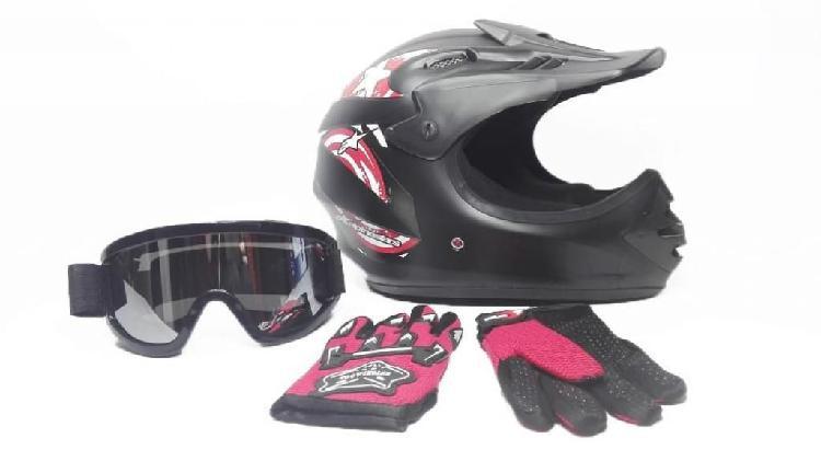 Casco, gafas y guantes bicicross infantil nuevos
