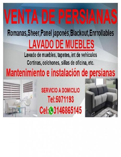 Venta de persianas y lavado de muebles. cel:3146865145