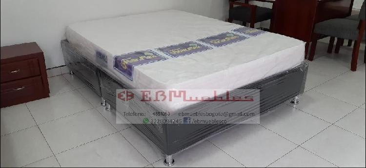 Base cama alta mas colchón envíogratis
