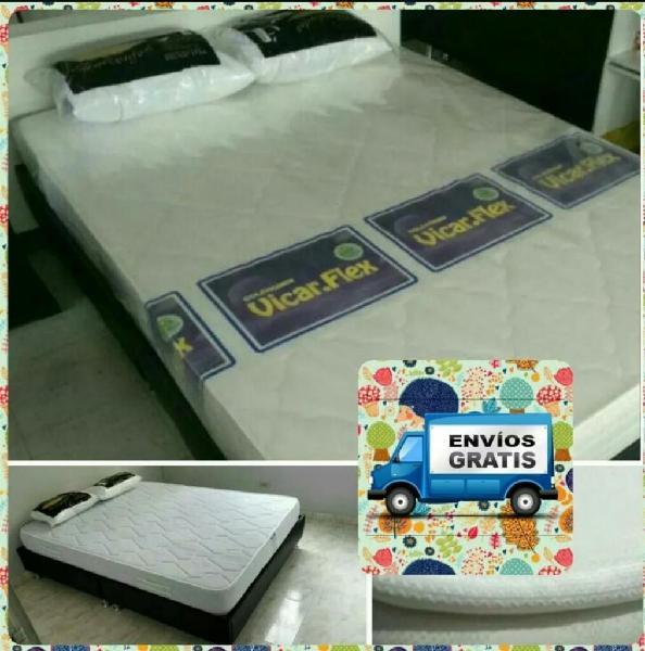 Base cama colchón 2 almohadas promo