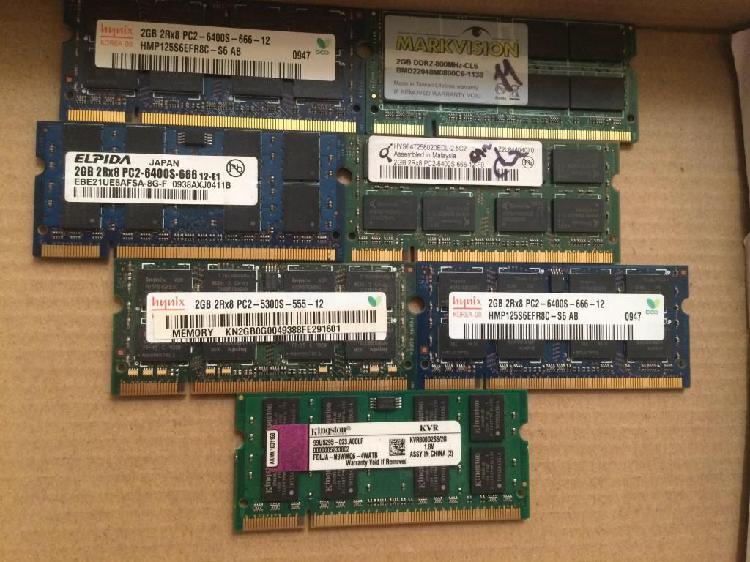 Memoria ram de portatil 2gb ddr3 y ddr2