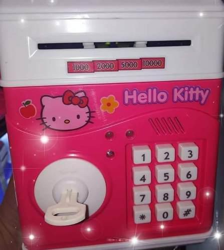 Alcancia hello kitty caja fuerte musical luz led niña mujer