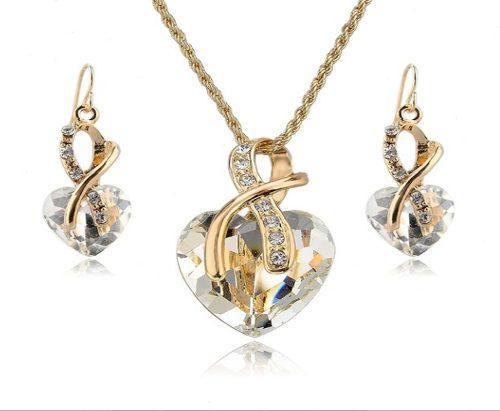 Collar + aretes mujer chapado en oro cristal austriaco