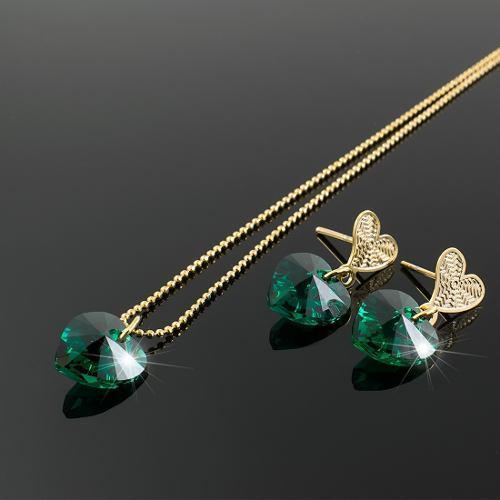 envío gratis cc904 24c39 Collar Aretes Mujer Corazon Swarovski Verde Esmeralda Cadena