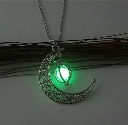 Collar de mujer piedra luna luminoso fosforescente regalo