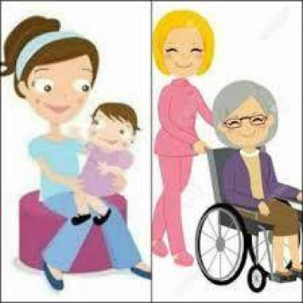 Cuidadora adulto mayor y niños