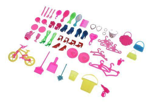 55 unids / pack muñecas accesorios zapatos perchas bolso pa