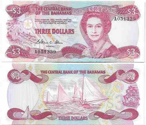 Billete bahamas 3 dolares 1974 papel moneda unc