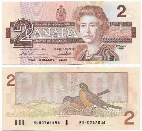 Billete canada 2 dolares 1986 papel moneda au+