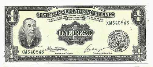 Billete de filipinas 1 peso 1949 papel moneda unc